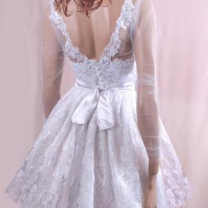 Short Wedding lace dress/Long tulle..