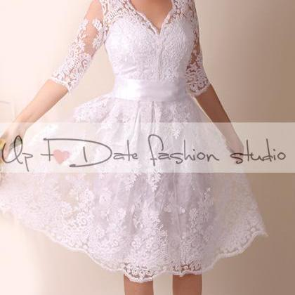 Lace Wedding dress/V front and back..