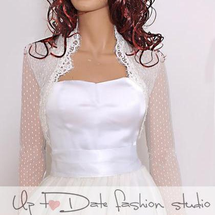 Bridal ivory delicate dots tulle ja..