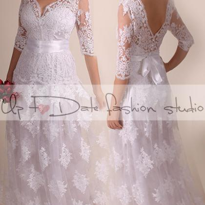 Lace Wedding dress/ Vneck front&bac..