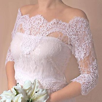 Bridal lace bolero Off-Shoulder / F..