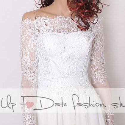 Off-Shoulder white wedding bolero/ ..