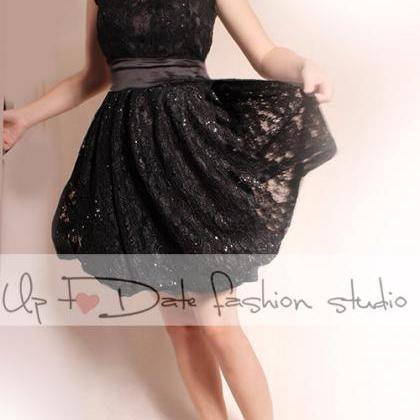 Wedding black lace dress/short slee..