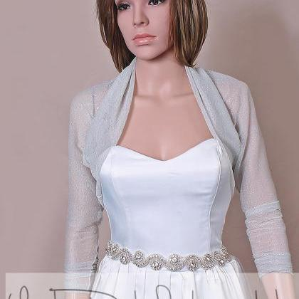 Light gray bridal tulle lurex boler..