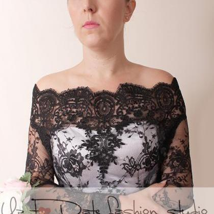 Black lace bolero Bridal /Off-Shoul..