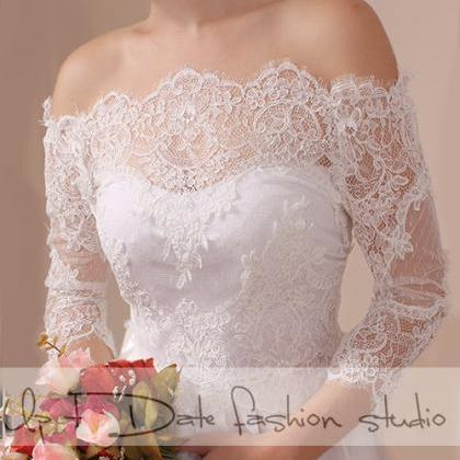 Plus Size lace bolero Bridal Off-Sh..