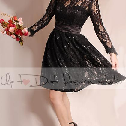 Plus Size Little black lace mini dr..