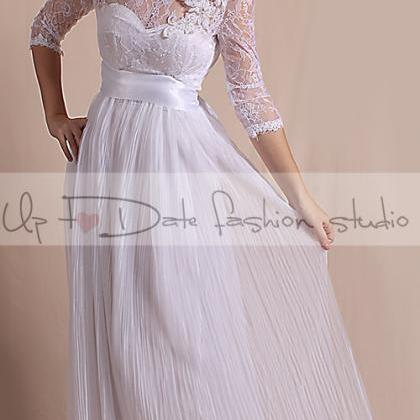 Plus Size Wedding dress/ 3/4 Sleeve..