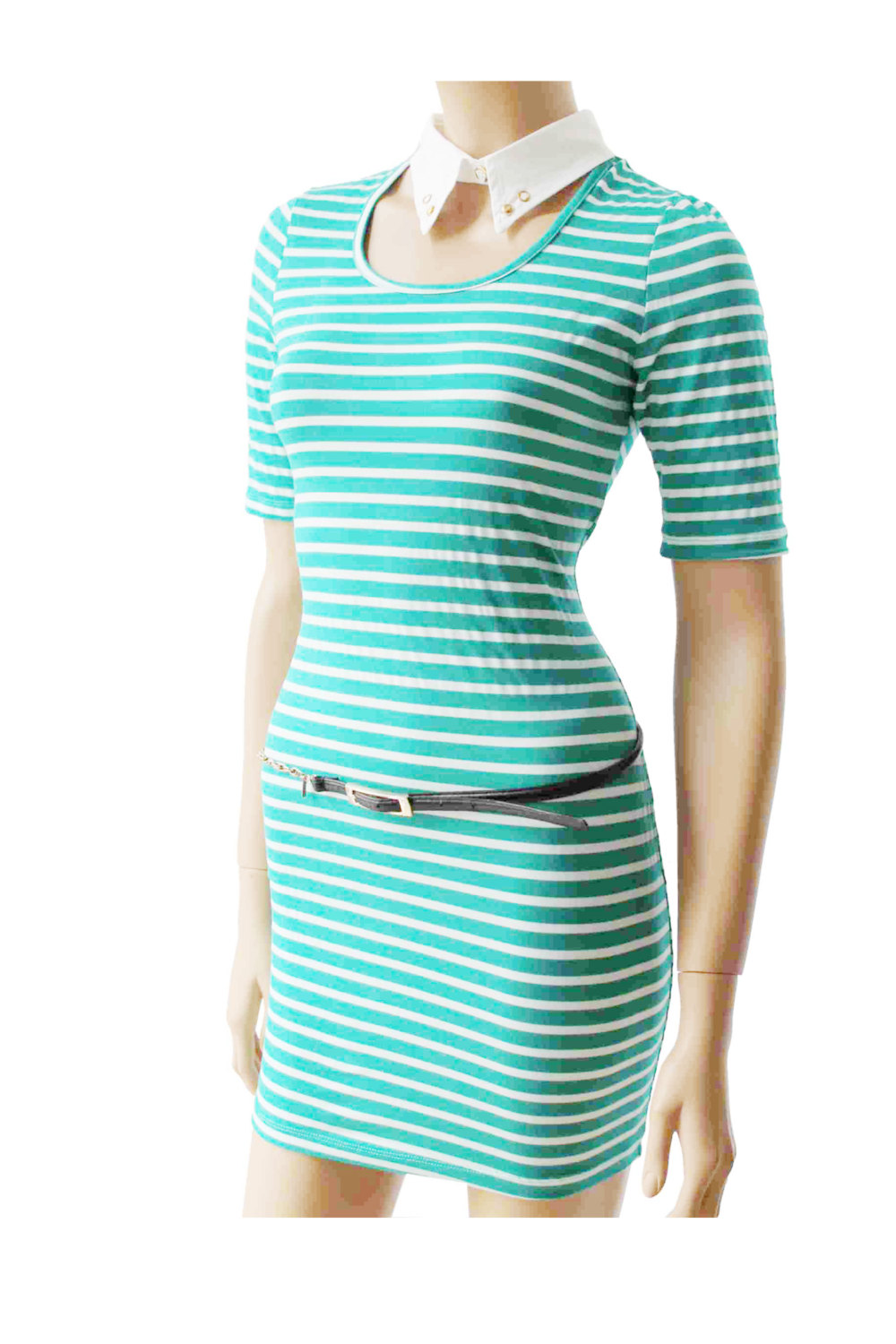 Mint and white/ cotton / women's Striped casual /mini dress/ tunic