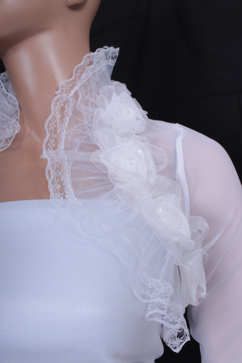 Bridal Optical White fluffy ruffles shrug jacket wedding bolero