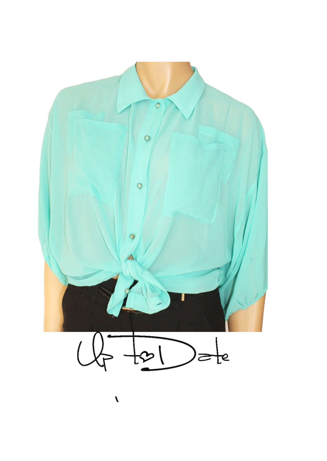 Mint / chiffon blouse with buttons