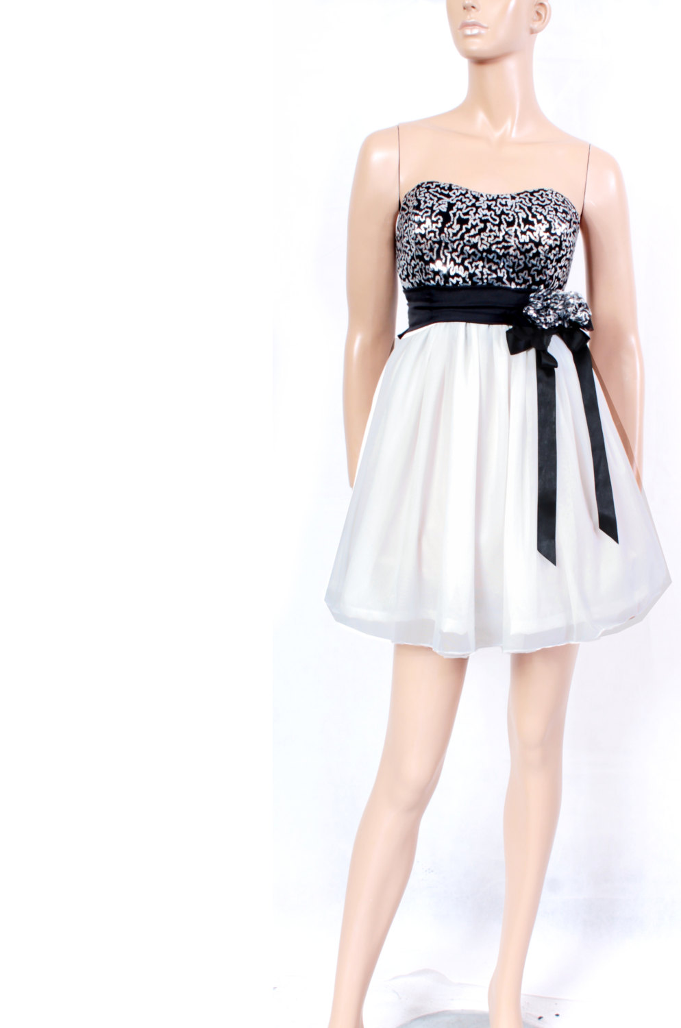 Prom/ Party/ Cocktail/Strapless/ wedding party /Chiffon Sequins mini dress