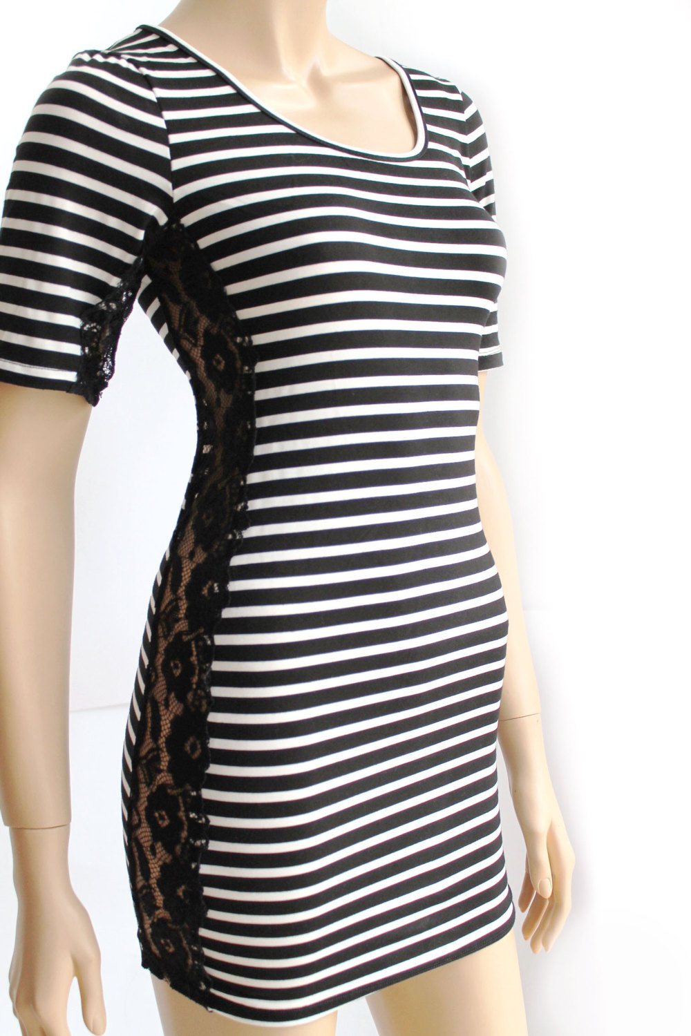 Black and white / cotton/women's Striped casual /mini dress/ tunic