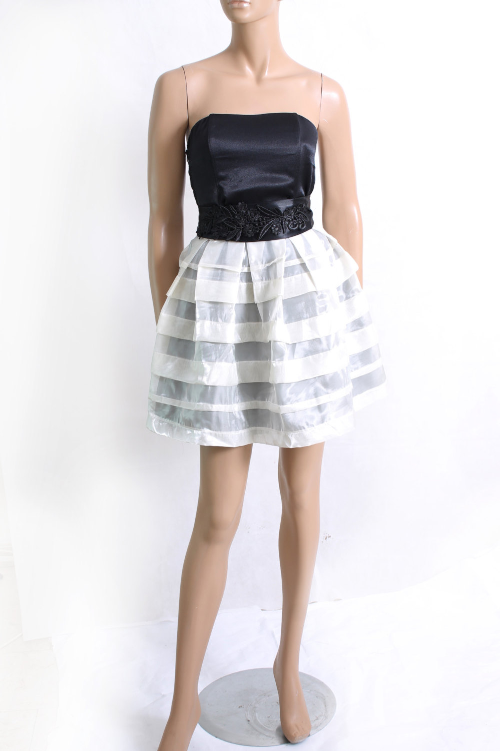 Little Black and White/organza/ party /cocktail / bridesmaid /prom / evening dress