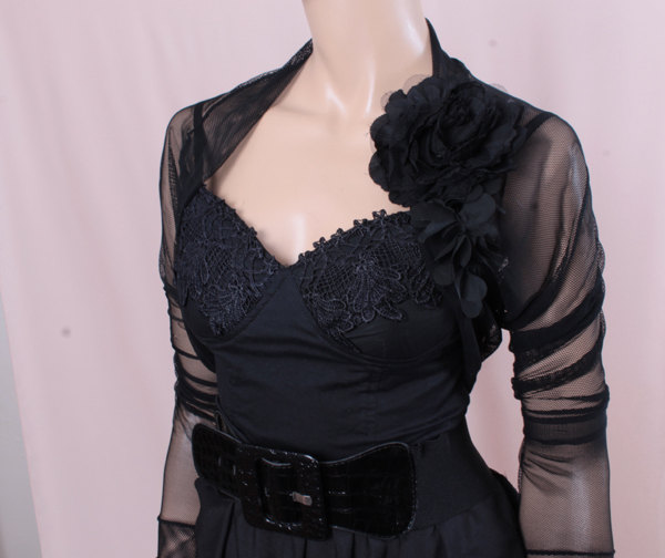 Bridal black tulle jacket ,long sleeves wedding bolero