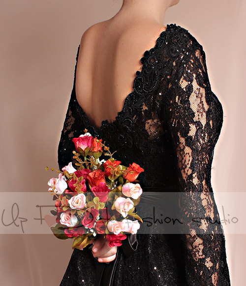 Little black lace dress / Evening / Party / Cocktail / long Sleeves/romantic dress