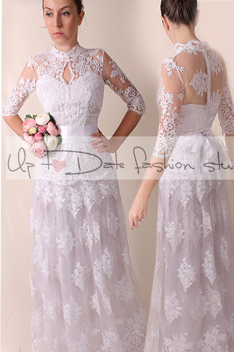 Lace Plus Size /royаl elegans /long/ mаxi wedding party/reception dress / lace / Bridal Gown 3/4 sleeve