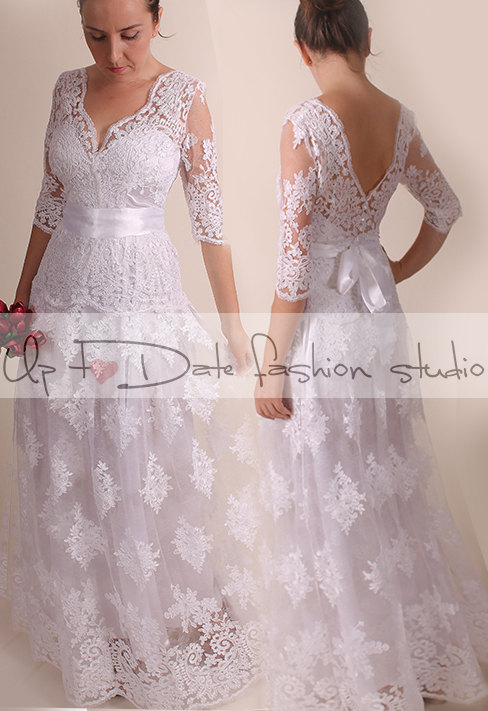 Lace Wedding dress/ Vneck front&back/Recepion/ long /mаxi/ lace dress/ Bridal Gown 3/4 sleeve