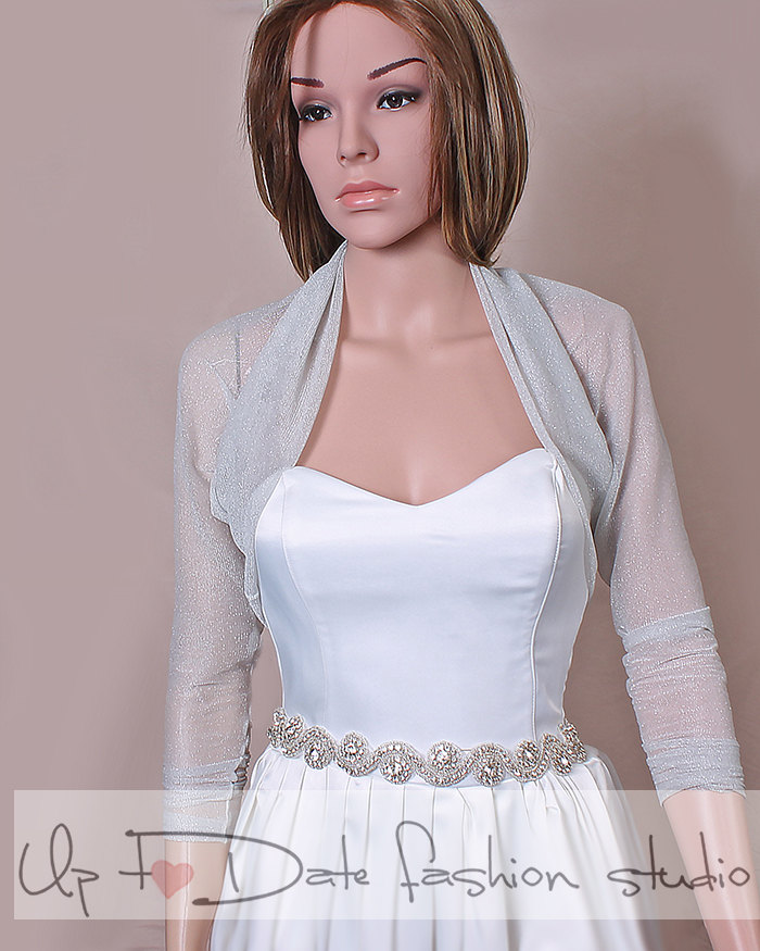 Light gray bridal tulle lurex bolero /jacket / long sleeves wedding gown/cover up