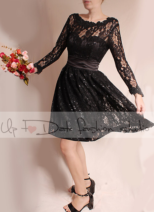 Plus Size Little black lace mini dress /Evening /Party /Cocktail /long Sleeves /romantic dress