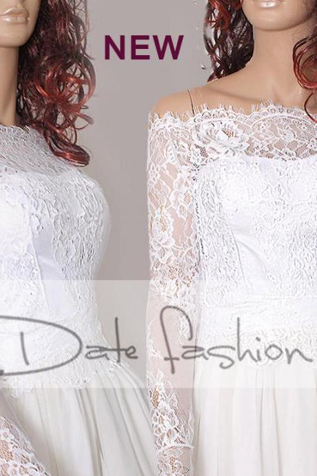 Plus size Off-Shoulder milky white wedding bolero/ French Chantilly Lace /bridal shrug /jacket long sleeve