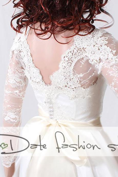 Wedding lace top/ wedding bolero/ shrug/bridal lace cover up deep-v in back