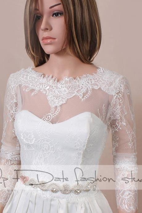 Plus size Wedding lace bolero V back / wedding jacket/ shrug/bridal lace top
