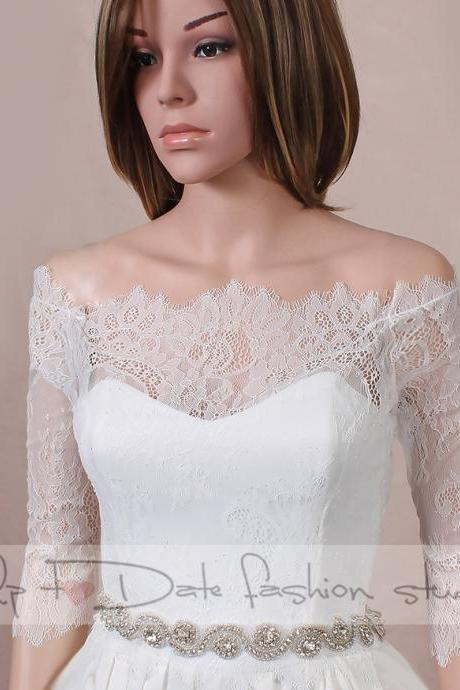 Plus size Off-Shoulder /wedding bolero/chantilly lace style /bridal shrug /jacket 3/4 sleeve