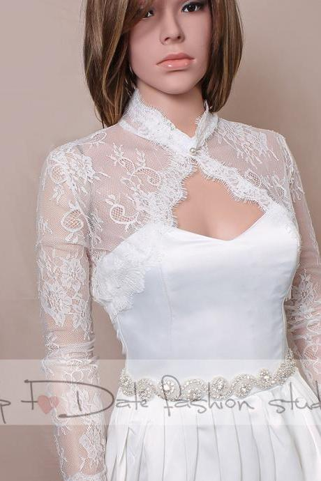 Plus size off white Bridal lace style /shrug / jacket / wedding bolero /3/4-sleeve /white /ivory/ black