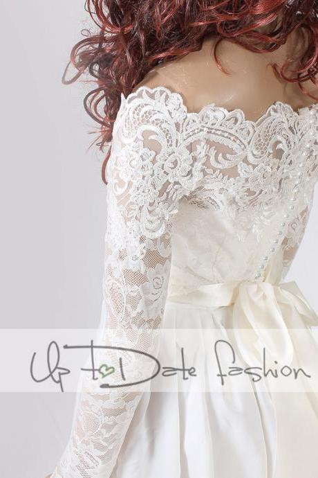 Off-Shoulder /French Lace/wedding jacket/Bridal lace bolero/shrug/jacket /bridal lace top