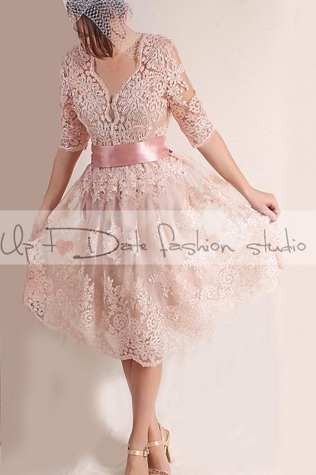 Party/Cocktail /evening/knee length /alencon lace dress/open back/ blush pink dress