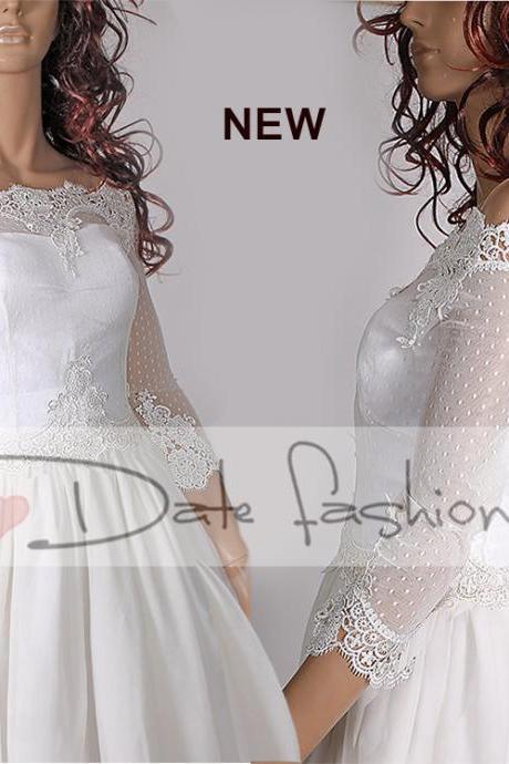 Bridal Off-Shoulder / French Lace wedding jacket/ Bolero shrug/ jacket /bridal lace dots tulle top