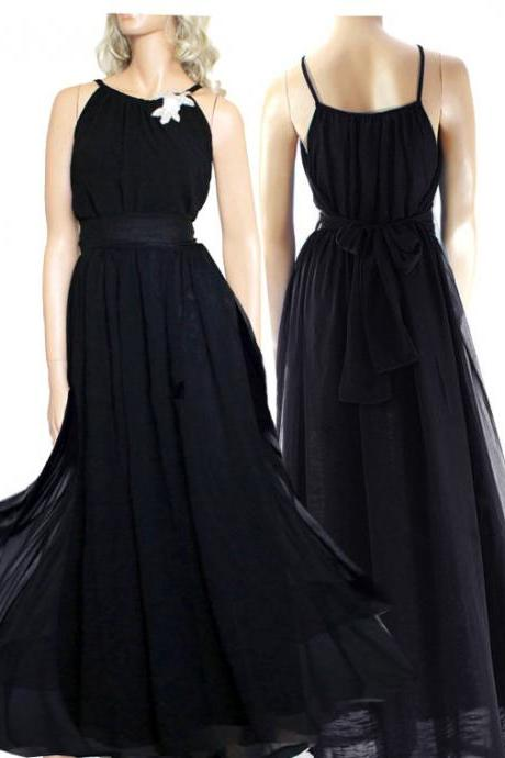 Black chiffon bridesmaid / evening /prom/ party maxy dress