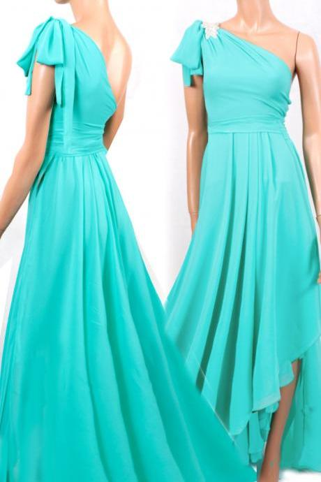 Maxi One shoulder /mint/ chiffon /bridesmaid/ evening / party/ asymmetrical dress