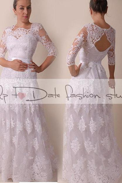 Lace Plus Size /Portrait back /long/ mаxi wedding party/reception dress / lace / Bridal Gown 3/4 sleeve