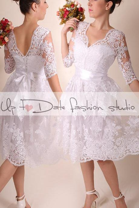 Lace Wedding dress/V front and back/Recepion/knee length dress/ Bridal Gown 3/4 sleeve