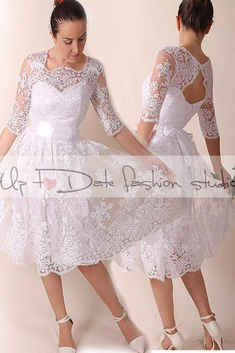 Lace Short Wedding dress /Portrait back Recepion /Bridal Gown 3/4 sleeve