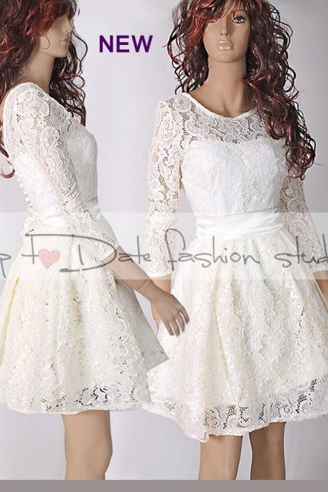 Plus Size reception /ivory bridesmaid /romantic / wedding party / short lace dress