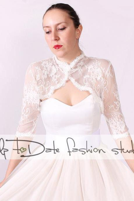 Wedding lace bolero/bridal shrug / jacket /3/4 sleeve/ Lace Cover up