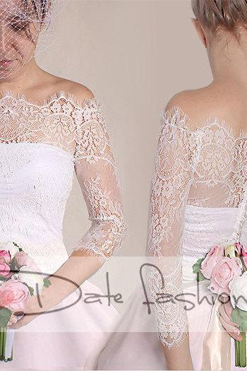 Off-Shoulder milky white wedding bolero/ French Chantilly Lace /bridal shrug /jacket 3/4 sleeve