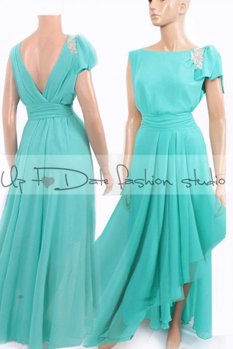 Maxi /mint/ chiffon /bridesmaid/ evening / party/ dress with swarovski crystals