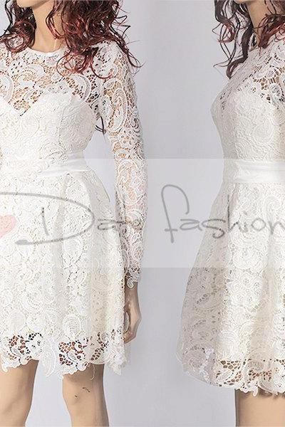 Reception short lace dress/wedding party/cocktail / elegant romantic dress