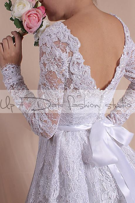 Lace short Wedding dress /short romantic dress/ with Sleeves Bridal Gown /open back