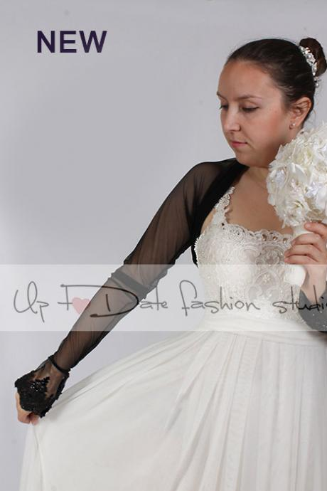 Bridal tulle black bolero/jacket/ long sleeves wedding bolero/cover up