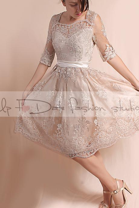 Lace Plus Size /reception/ ekryu knee length/ wedding party /3/4 sleeves/ Bridal Gown