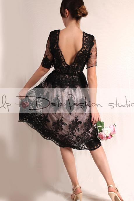 Plus Size Little black lace dress /Evening /Party /Cocktail /3/4 Sleeves /romantic dress V back