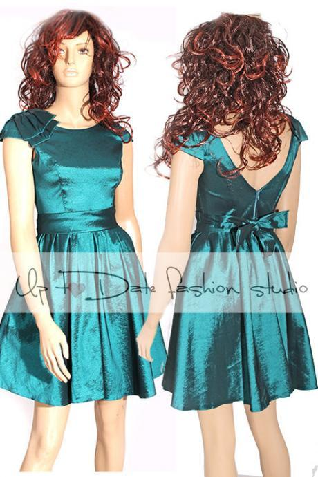 Plus Size darck teal taffeta /party /prom /graduation/ dress bridesmaid / evening / dress