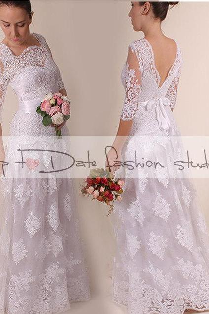 Lace Wedding dress / V neck bаck /A line long Bridal Gown with sleeve