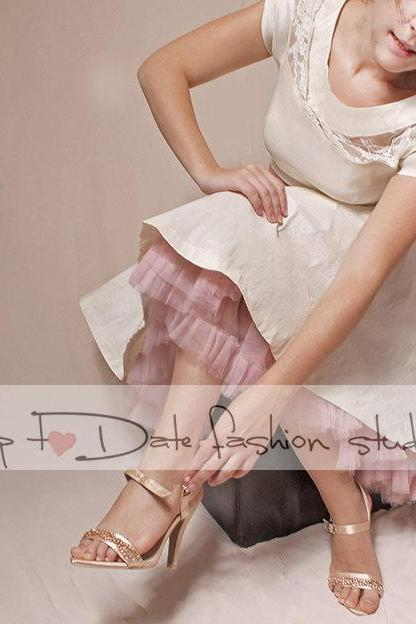 Wedding short /reception/ ivory taffeta /party /prom /graduation/ dress+blush pink petticoat