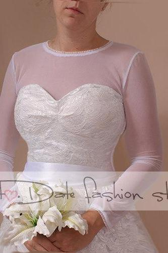 Bridal bolero /jacket /T-shirt bolero made of stretchable tulle with length sleeve wedding gown